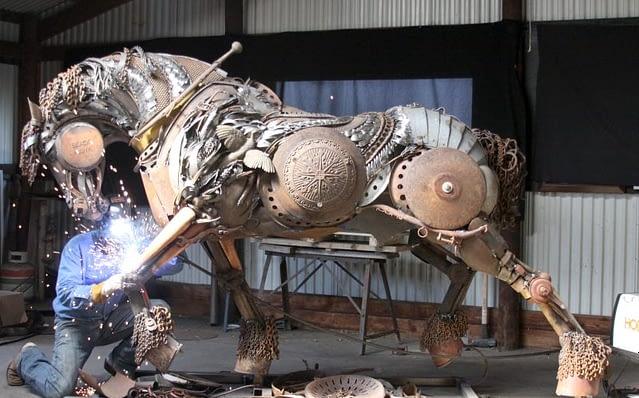 Welded horse sculpture